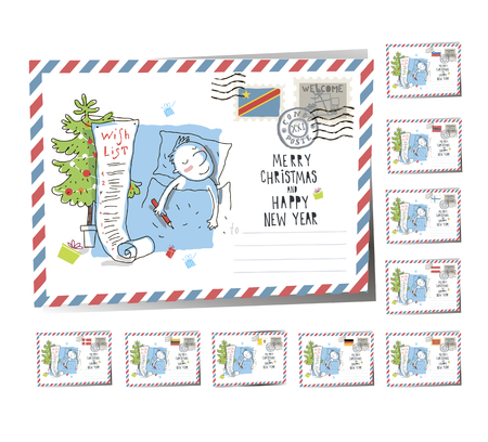 New Year Postcard Christmas Wish List 2017 | Vector Illustration