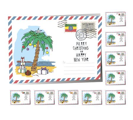 New Year Postcard Christmas palm 2017 | Vector