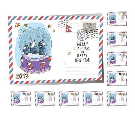 New Year Postcard Christmas magic ball 2017