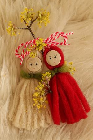 traditional custom: Martenitsa - Traditional Bulgarian custom - white background Stock Photo