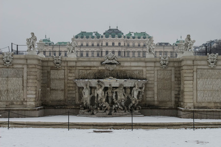 Travel - Belvedere palace, Vienna, Austria - in winter Editorial