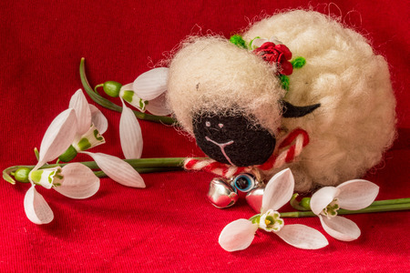 Martenitsa-traditional Bulgarian custom - with snowdrops