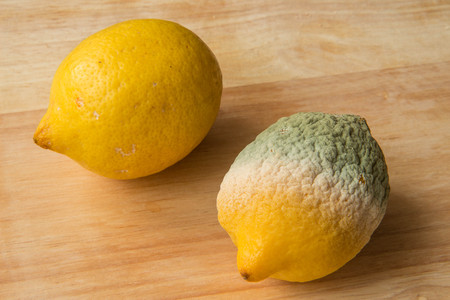 Food - Lemons - one good one rotten - wood background Stock Photo