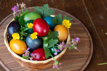 Easter eggs and Easter bun with flowers - wood background