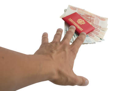 The hand reaches out to the identity and money photo