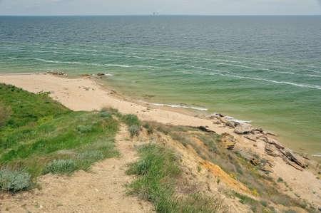 npp: Deserted sandy beach of the Tsimlyansk reservoir Stock Photo