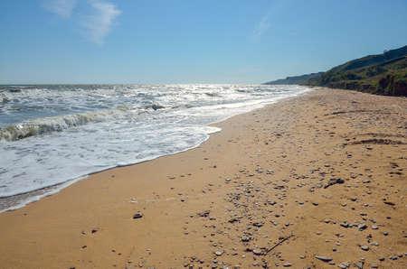 azov sea: Empty sandy beach of the Azov sea Stock Photo