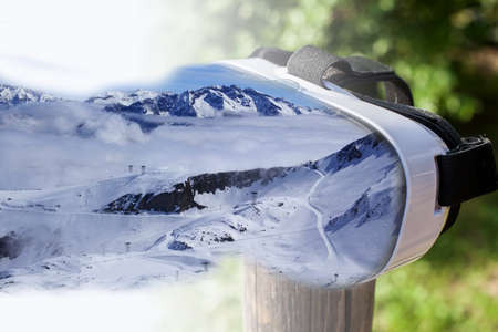 virtual reality simulator: Double exposure  Ski centre, Les Deux Alpes, entering VR headset
