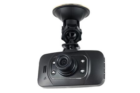 grabadora: video de la cámara del coche aislado en el fondo blanco Foto de archivo