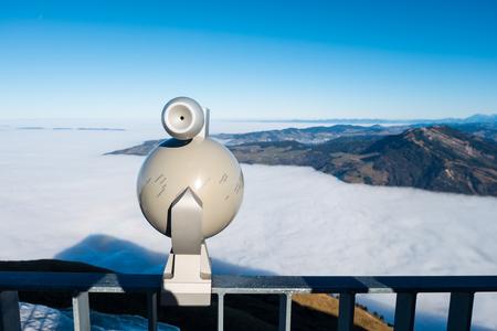 Binocular viewer of Rigi Kulm mountain in Switzerland