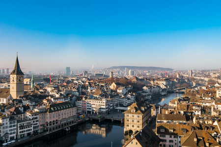 Downtown of Zurich city center at sunny day