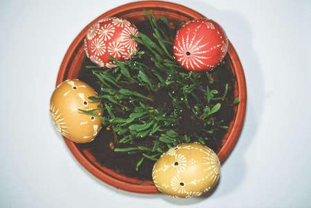 Few homemade easter eggs Reklamní fotografie