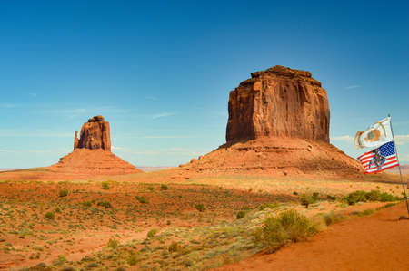 Beautiful view of monument and flag at Monument Valley