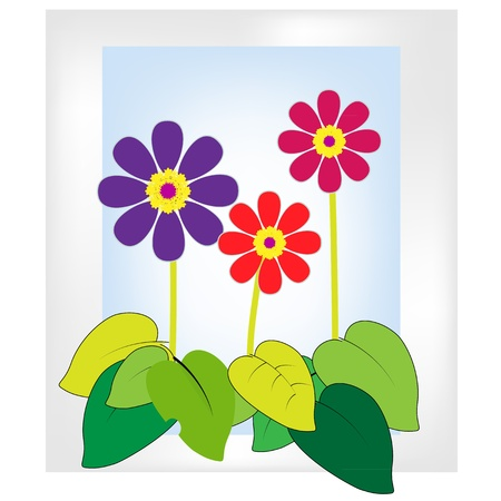 Paintings of flowers in 3 colors Stock Vector - 16921233