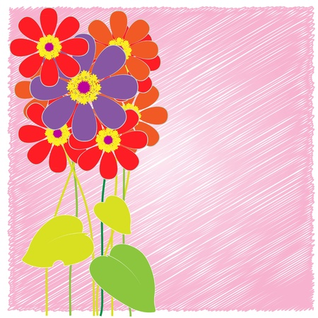vertical garden: flower cards pink  Illustration
