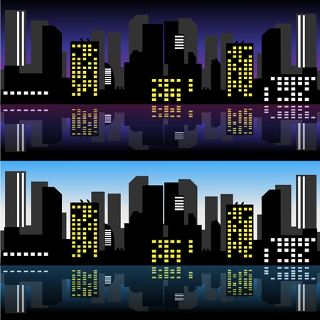 River city night and day Stock Vector - 16934355