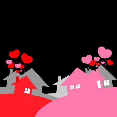 day and night: city of love black background Illustration