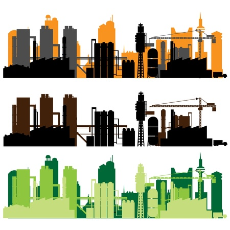 building construction site: factory vector Illustration