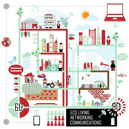 icono ecologico: comunicaciones de red