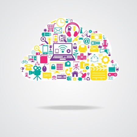 mail marketing: cloud network icons Illustration