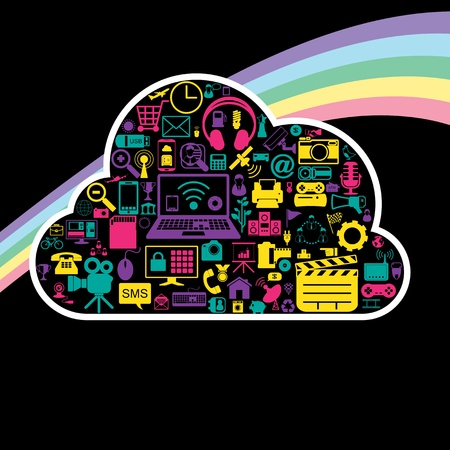 cloud network icons Stock Vector - 21324664
