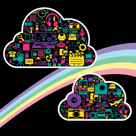 cloud network icons Stock Vector - 21324665