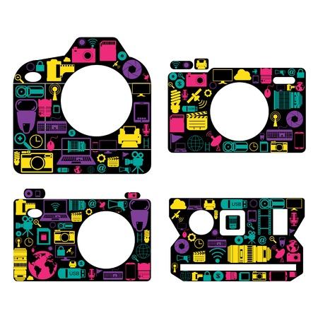 digital slr: camera icons Illustration