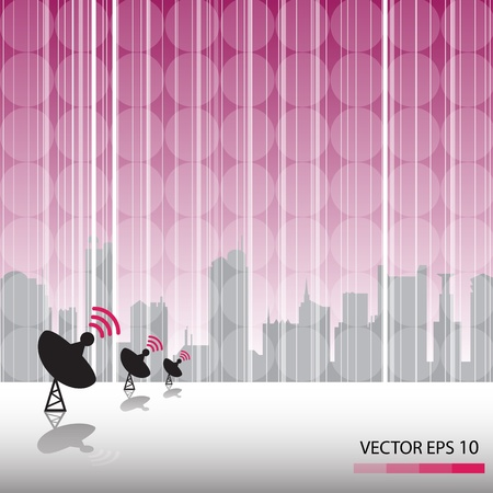 receiver: Satellite dish and abstract background Illustration