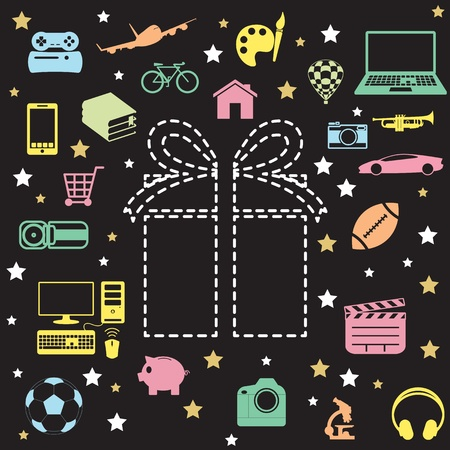 gift box and icon Vector