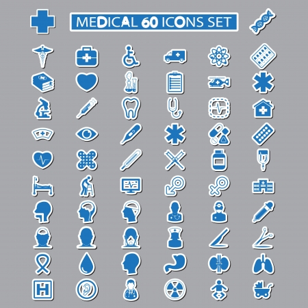 patient in hospital: medical icons set