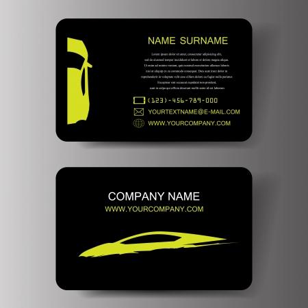 silhouette voiture: cartes de visite de voiture, illustration