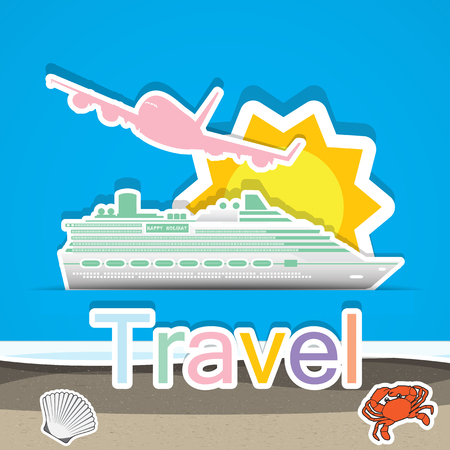 Travel by cruise ship and airship Vector