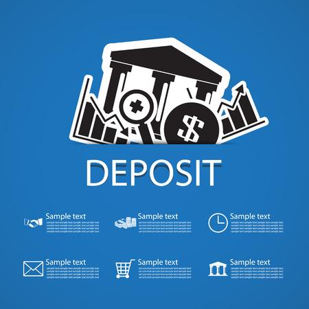 bank deposit: deposit bank icons design Illustration