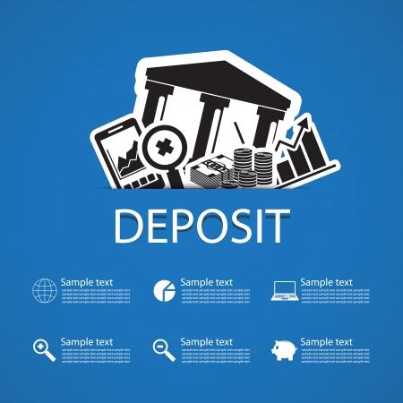 deposit bank icons design Vector