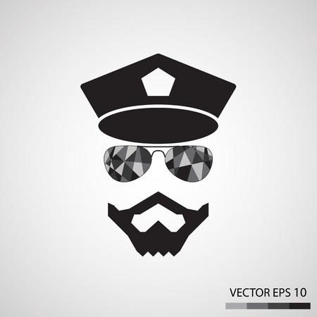 gorra policía: Hombres barbudos, Ilustración