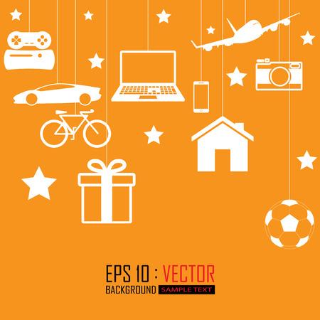 laptop home: big gift set Illustration
