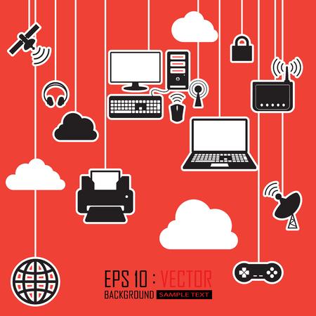 communications cloud network Illustration