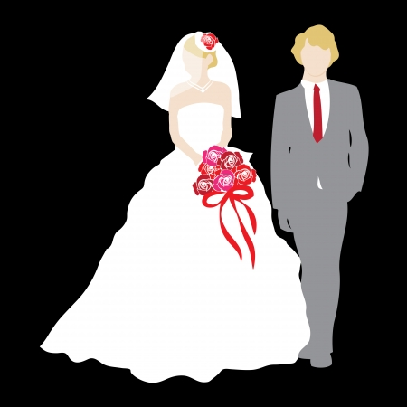 Just Married Wedding Couple Vector