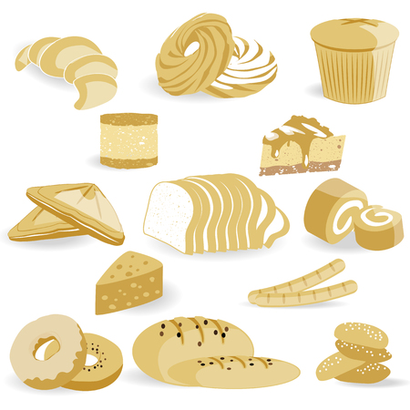 traditional goods: bread Sticker and icon set Illustration