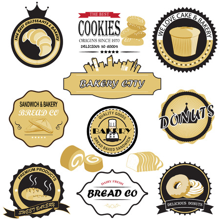 donut shop: bread Sticker and icon set Illustration