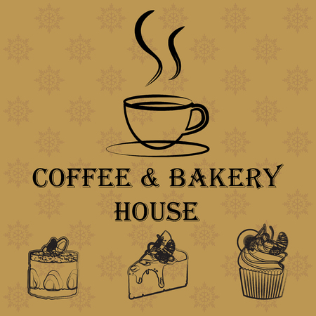 coffee and cake Vector