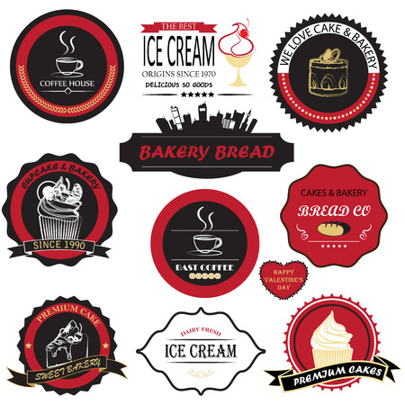 stickers: cake and bakery label Illustration