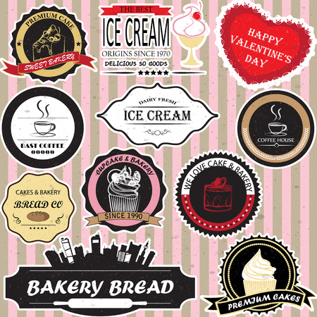cake and bakery label Vector