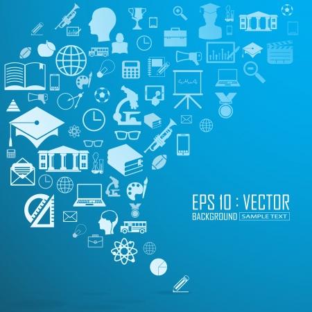 Education icons background,