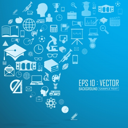 Education icons background, Vector