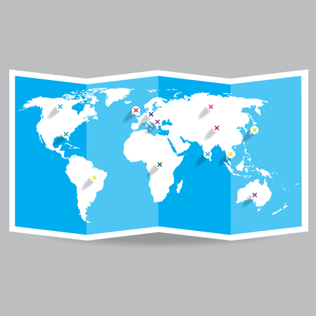 folded paper: Vector world map