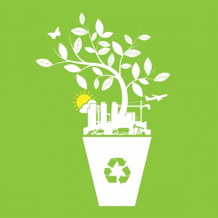 warming: Ecology and recycle icons symbol Illustration