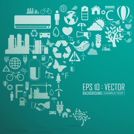 Ecology and recycle icons, backgrounds Illusztráció