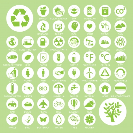 eco car: Ecology and recycle icons Illustration