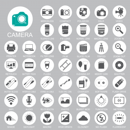 camera Photography icons Vector